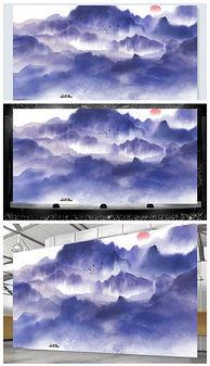 高端大气蓝色新中式水墨舞台背景psd格式设计模板-PSD徽派设计 ...